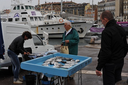 """Fishermen in the """"Vieux Port"""""""