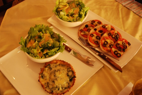 Bruschetta and quiche
